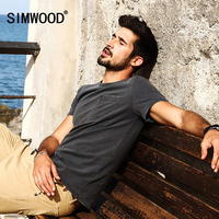 SIMWOOD 2017 Summer T Shirt Men Fashion Vintage Slim Fit Pocket 100 Pure Cotton Tops Brand