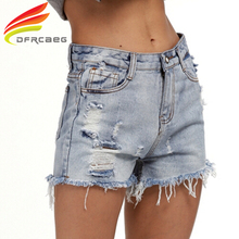 DFRCAEG Women Denim Shorts Fashion 2017 Jean Shorts Women Summer High Waist European Style High Quality Ripped Shorts Jean