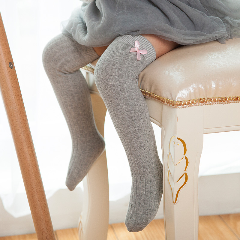 Spring And Autumn Double Needle Solid Color Baby Stocking Bow Princess Children's Boneless Knee Long Socks Combed Cotton Wholesa