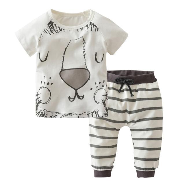 c92791f82 Conjuntos de ropa de verano para bebés y niños pequeños monstruos y Leones  Camiseta de manga