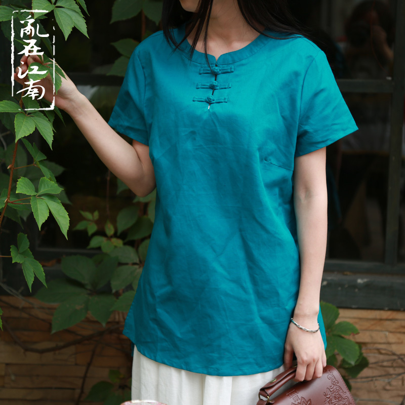 Frog Original Blouses Pure Retro Tea Style Chinese red Blue Wrinkle Shirt Linen TqTS8
