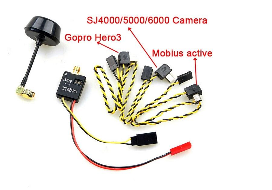5.8G 600mW 32ch Mini Wireless Audio Video AV Transmitter & Mushroom Antenna for FPV for Gopro Hero 3 Mobius Active 808 SJ4000