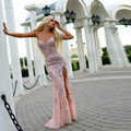 Luxury Crystal Stunning Prom Dresses 2017 Hot Sexy Side Split Pink Sweetheart Party Gowns Pageant Dress Robe De Soiree