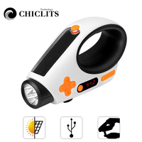 LED Rechargeable Flashlight FM/AM Radio Torches USB Charging Portable Camping Light Solar Charged Manual Electricity Generation