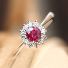 2019 New Luxury Princess Kate Red Gem Created Round Crystal Silver Color Wedding Finger Ring Brand Jewelry for Women