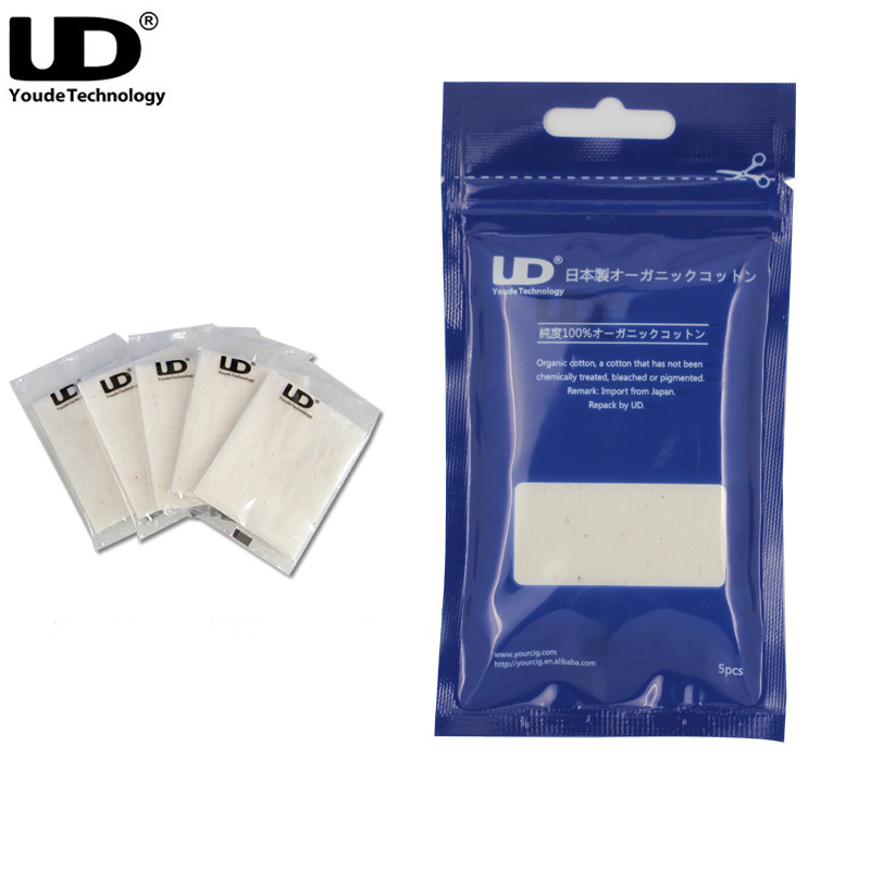 Original Youde UD 100% Organic Cotton Organic Japanese Cotton E Cigarette Accessories For RDA RBA Atomizer 5pcs/pack