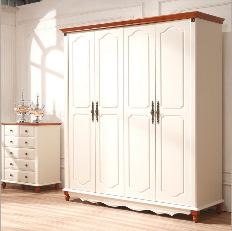 Style campagnard américain armoire en bois placard chambre meubles quatre portes grand placard de rangement p10252