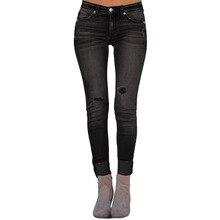 Pantalones vaqueros elásticos ajustados rasgados negros 2019 para mujer, como un jefe, pantalones vaqueros de camuflaje desgastados, Pantalon para mujer # LC786035-2