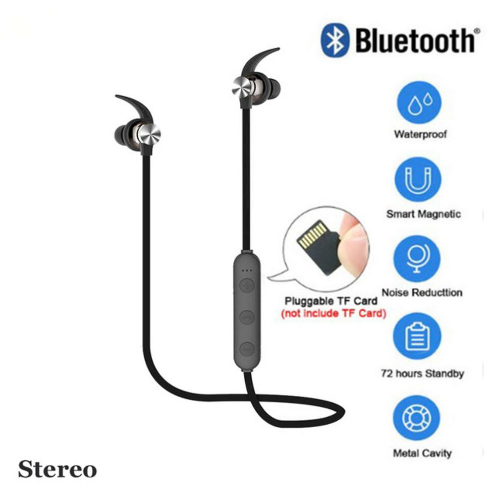XT22 Sports Wireless Bluetooth Earphone Magnetic Attraction Headset Stereo Bass Waterproof Sports Headphone With Mic TF SD Card