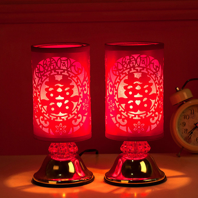 Chinese Wedding Light Wood Bedroom Lamp Holiday Atmosphere Creative Gift Festive Red Desk