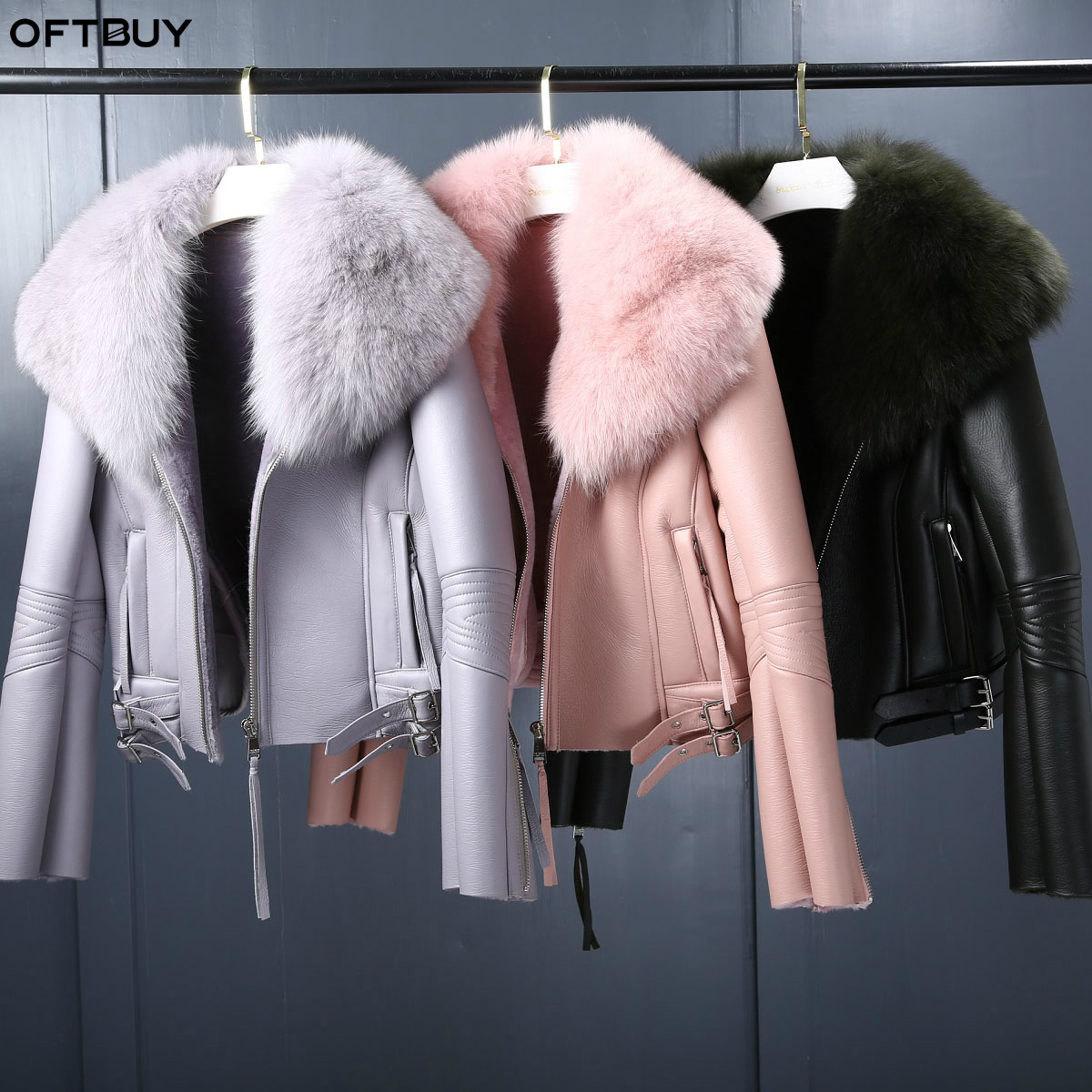 OFTBUY 2019 Real Fur Coat Winter Jacket Women Natural Fox Fur Collar Real Wool Fur Liner PU Faux Leather Thick Warm Streetwear