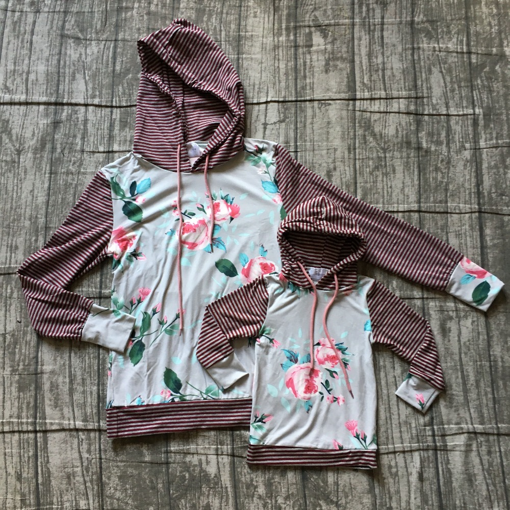 Fall/winter kids outfits baby girls hoodie clothes children milk silk drawstring cotton boutique floral stripe gray wine flower