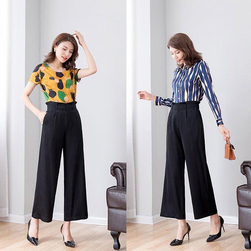 natural silk wide leg pants women 2019 summer autumn black real silk thin zipper ankle length