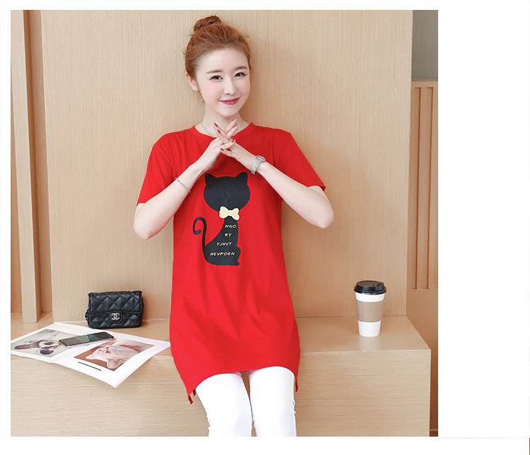 2018 Large size Women T-shirt dress summer Short sleeve Cats print Top Tees Casual O-neck Loose Female Tshirt Plus size 5XL J215 11