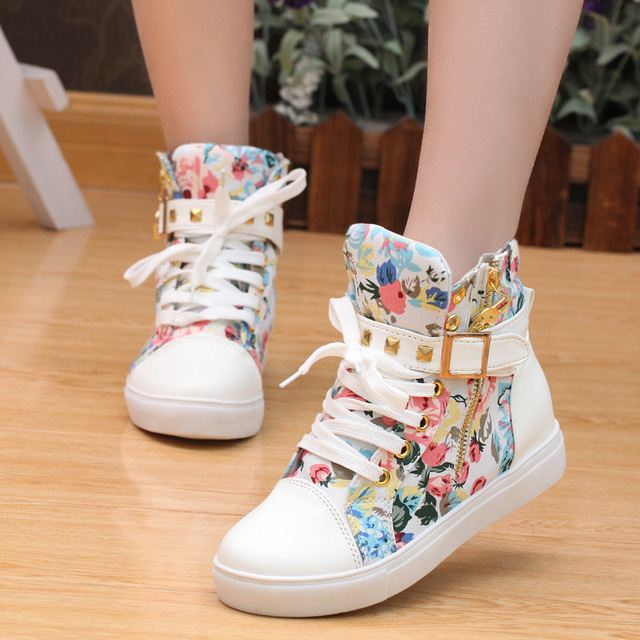 Sapatilhas femininas plataforma casual sapatos florais mulher outono andando laço up tênis branco sapatos altos tenis feminino moda mujer