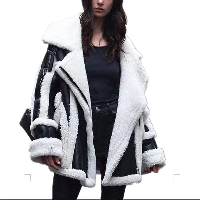 Real Women Sheep Leather Shearling Coats Wool Women Coats Fashion Winter Lambs Fur Loose Big Code Down Jackets Overcoat