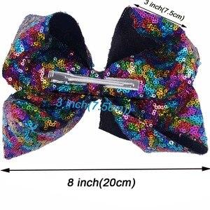 """Image 3 - 8 części/partia 8 """"cekiny włosy kokardki z klipsami dla dzieci dla dzieci Handmade duże Bling Rainbow cekiny łuki Hairgrips akcesoria do włosów"""