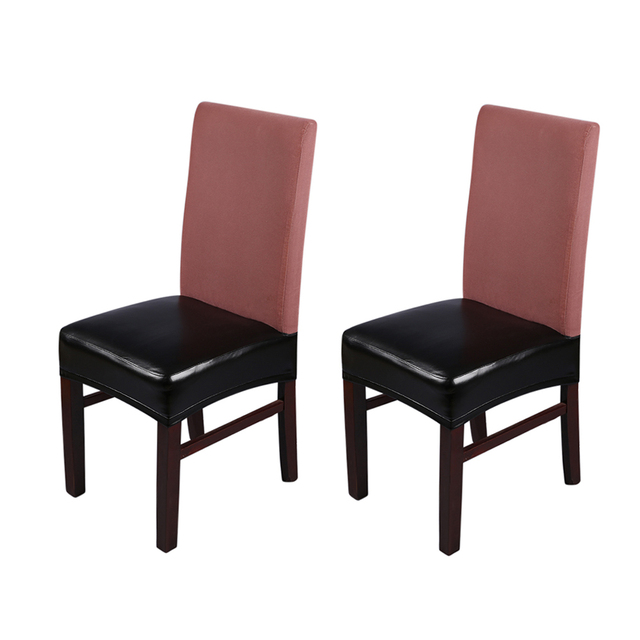 2pcs Chair Cover Pu Leather Stretchable Dining Seat Covers