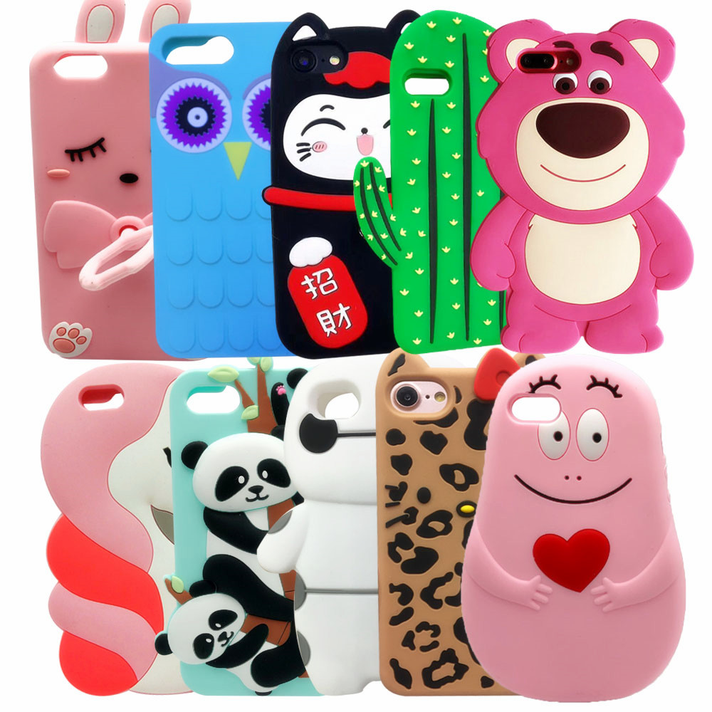 For iphone 5 5s SE 6 6s Plus Case 3D Silicon Strawberry bear Cartoon Soft Phone Cover for iphone 5 5S SE 6 / 7 / 7 Plus best girl toys 2017