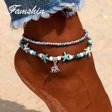 FAMSHIN Verë Vintage Elephant Anklets byzylyk për Gra Boho Pendent Multi Layer Beach Beach Anklet Bohemian Foot Jewey Gift