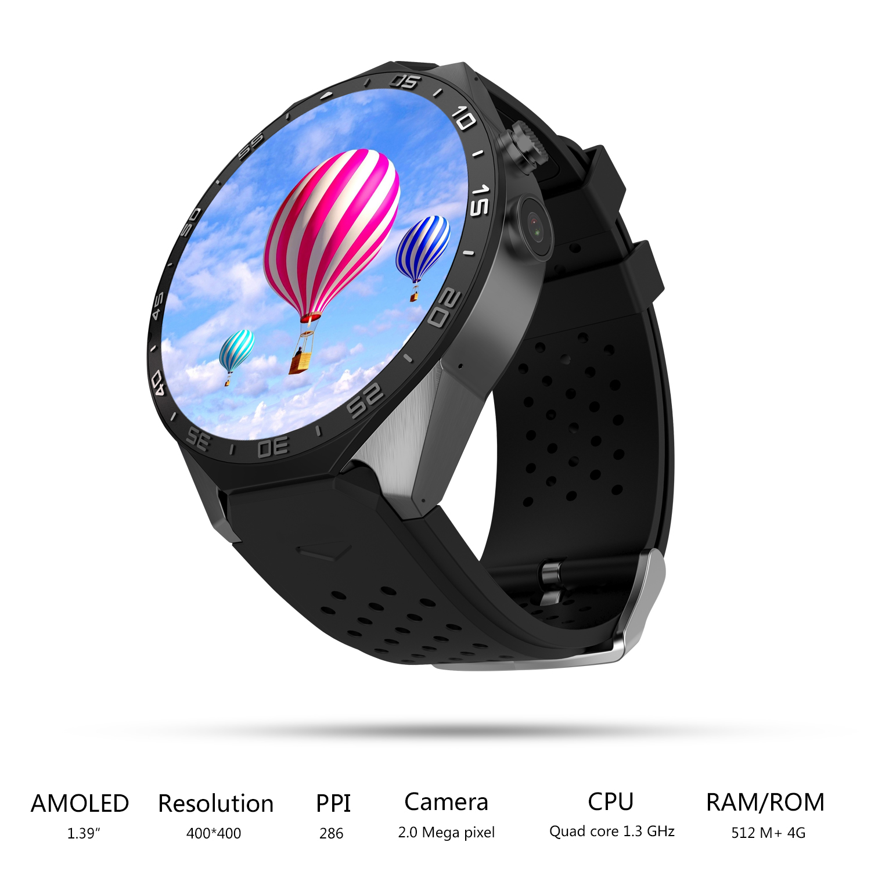 Otex 2017 Горячие kw88 ОС Android 5.1 Смарт-часы 1.39 дюймов 400*400 SmartWatch Phone Support 3G Wi-Fi Nano SIM WCDMA сердечного ритма