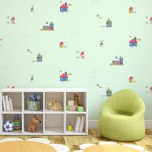 Fantasy hut children room wallpaper boy girl bedroom non-woven wallpaper cartoon blue background wallpapers beibehang new children room wallpaper cartoon non woven striped wallpaper basketball football boy bedroom background wall paper