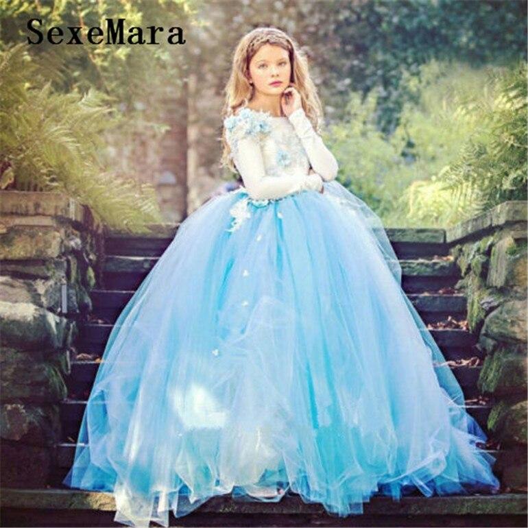 Robe de fille de fleur bleue de Tulle gonflé pour les filles de mariage robe de fête de reconstitution historique formelle enfants robe de Graduation d'anniversaire faite sur commande