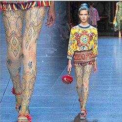 الخراب المرأة الجوارب طباعة جوارب طويلة الإناث فتاة الجوارب 140DFashion الرجعية نمط رسمت باليد نمط الوطني