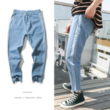 Summer new fashion pants men skinny jeans streetwear for man hip hop Teenagers homme denim Student