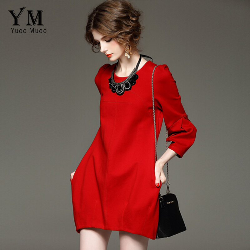 YuooMuoo Brand Design Autumn Dress Women Plus Size High Quality Red Black Dress Elegant European Fashion