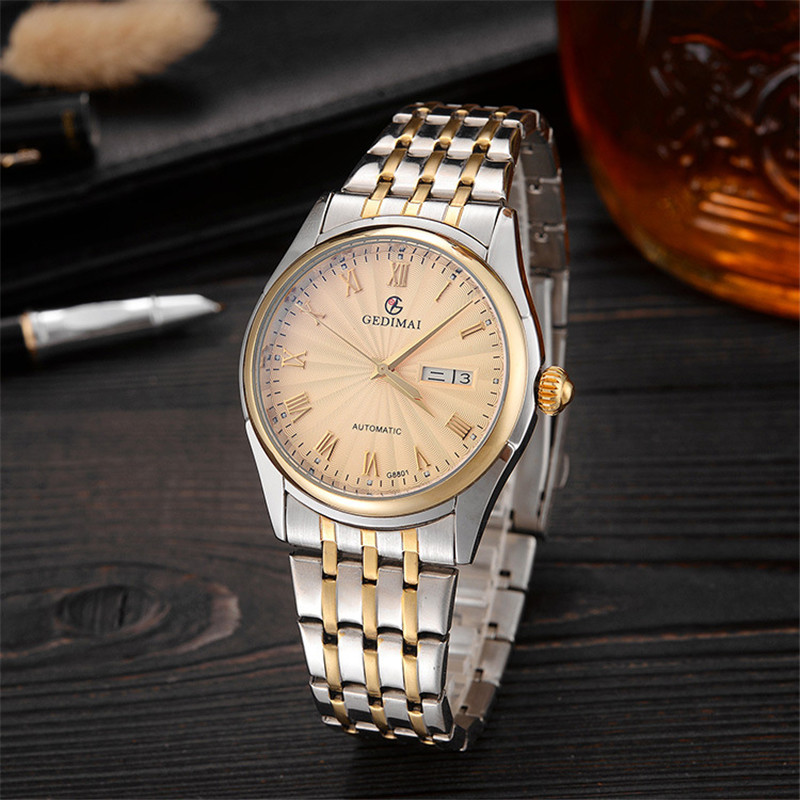 2019 GEDIMAI Mens Watch Top Luxury Brand Mechanical Watches for Men Waterproof Sapphire Steel Men 39 s Automatic Wrist Watches in Mechanical Watches from Watches