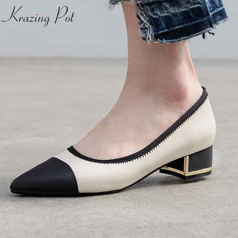 Krazing Pot genuine leather satin med heels streetwear pointed toe summer big size 43 42 41