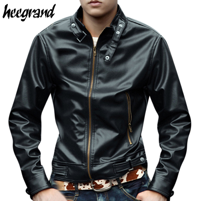 2016 New Trend Men's Jacket PU Leather Casual Slim Solid Black&Brown Big Size M-XXL Jacket For Man Drop Shipping MWP142