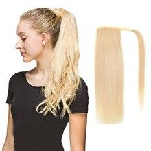 ALI BEAUTY-coleta de pelo humano para envolver alrededor de cola de caballo, Clips rectos brasileños, hecha a máquina, peluca de cabello Remy, 120g