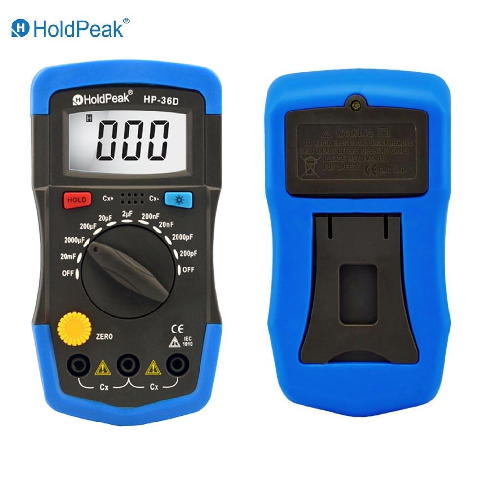 Mini Multimeter Multimetro HoldPeak HP-36D LCD Digital Capacitance meter Capacitor Tester pF mF Circuit Gauge cnim hot m6013 autorange digital capacitor capacitance circuit tester meter multimeter yellow