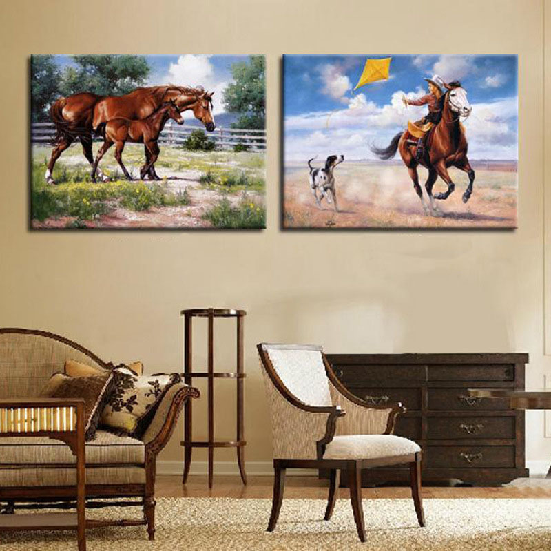 2 Pieces Wall Art Decorative Pictures Modern Horse Painting Large Horses  Cowboy Canvas Painting For Your