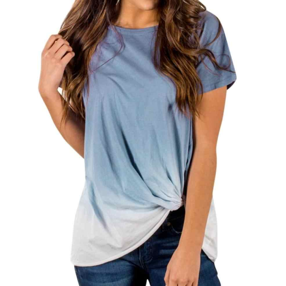dcfdd0f6f4c57 2017 Summer Clothes Womens Tops T-shirts Gradient Color Print Knotted T- shirt O