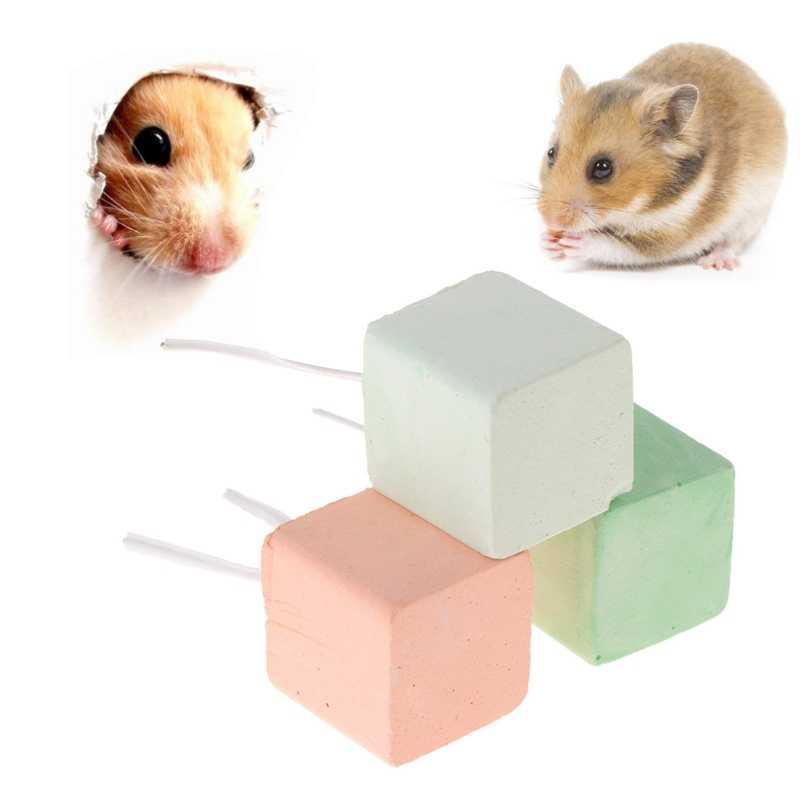 Hamster Răng Mài Đá Khoáng Canxi Rabbit Rat Sóc Đồ Chơi Cube Treo AUG-24A