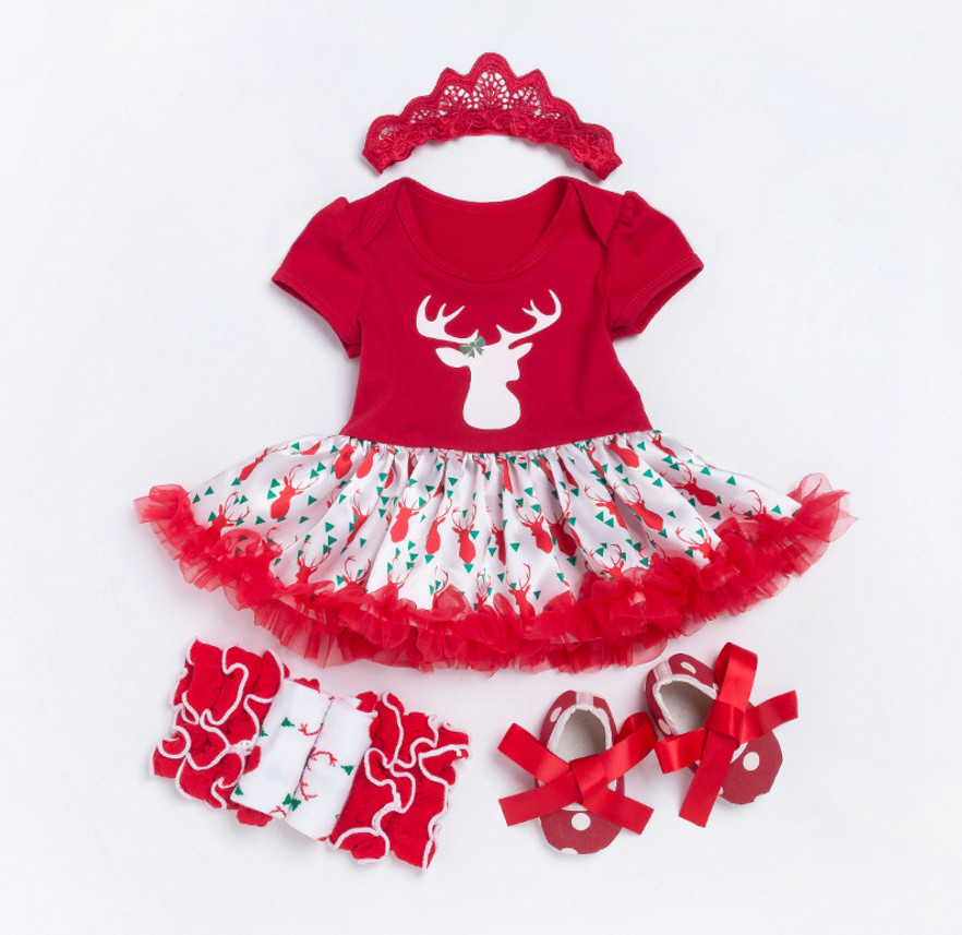 Halloween Costumes Baby Girl Cute Elk Rompers Dress+Lace Leg Warmers+Shoes+Crown Headband Clothing Set Toddler Christmas Gift