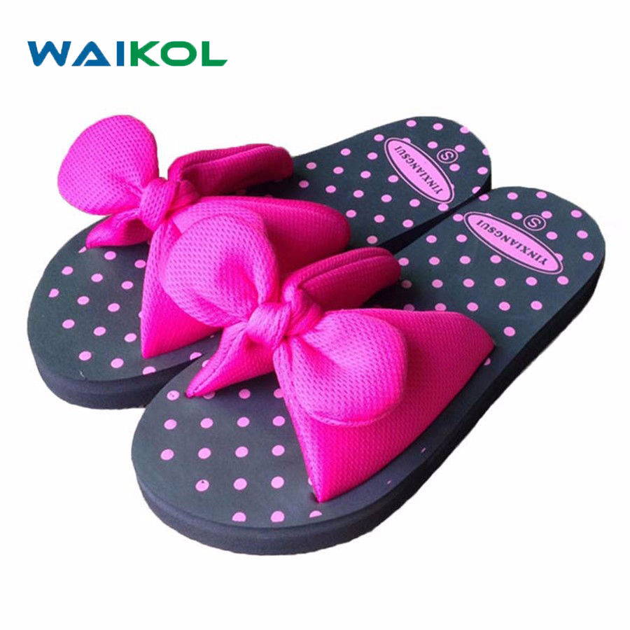 Waikol Sweet Summer Bow Bowtie Butterfly Dot EVA Beach Home Women Flat Slipper Female Sandals Blue Red Yellow Green Size S M L modern led ceiling lights for children acrylic led dimming ceiling lamp 110v 220v round ceiling fixtures lights sourface mounted
