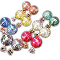 Reparto estupendo Marca Perla Doble Pendientes de bolas de Colores Declaración Canal de Circón Stud Pendiente Cristalino de La Joyería de La Boda Las Mujeres JS04