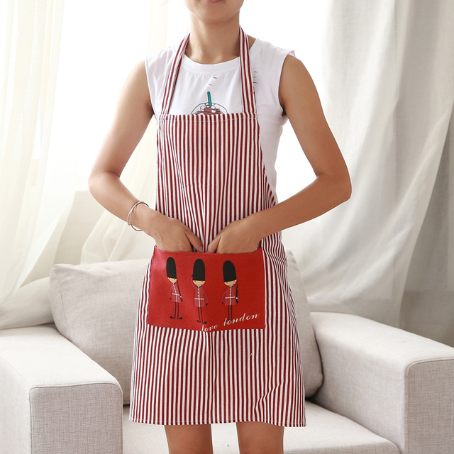 Fashion Linen Stripe Apron with 2 Pockets Cafe Waiter Kitchen