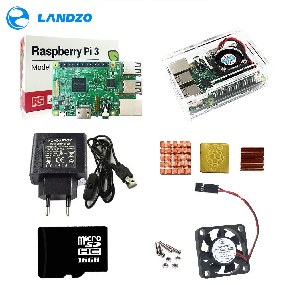 Framboesa pi 3 abs caso com ventilador 16 gb sd cartão dissipador de calor e 5 v 2.5a adaptador de alimentação com interruptor cabo para raspberry pi modelo b