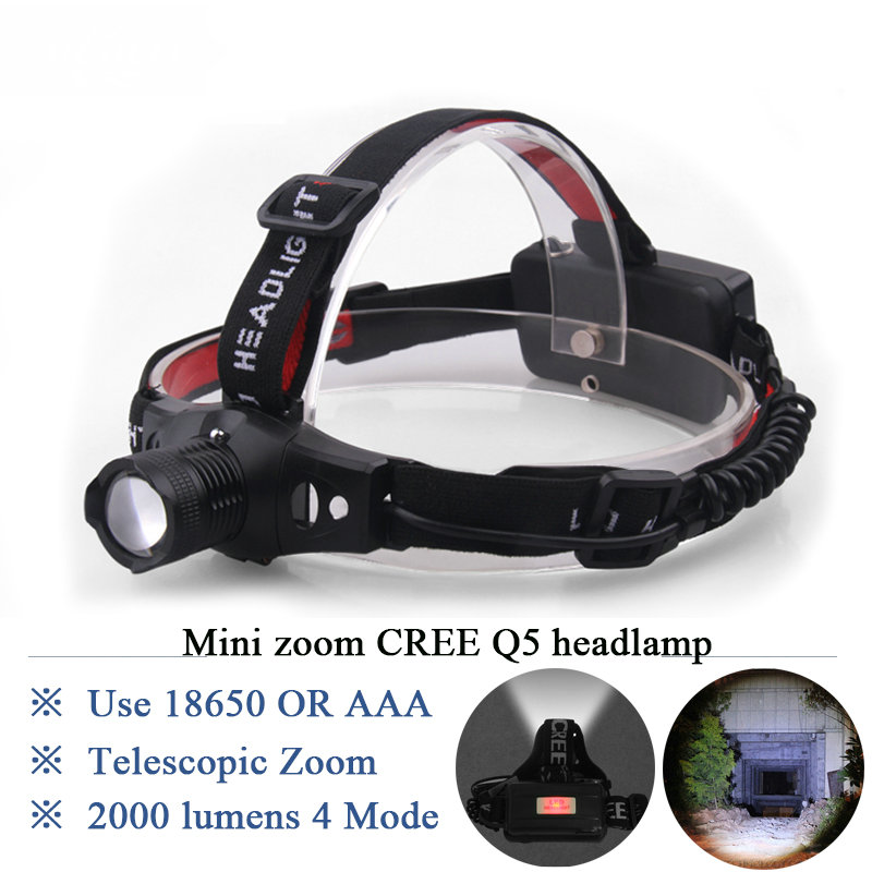 Portable glare zoom headlight Cree q5 flash light head lamp Waterproof head light 18650 rechargeable or 3 X AAA battery headlamp