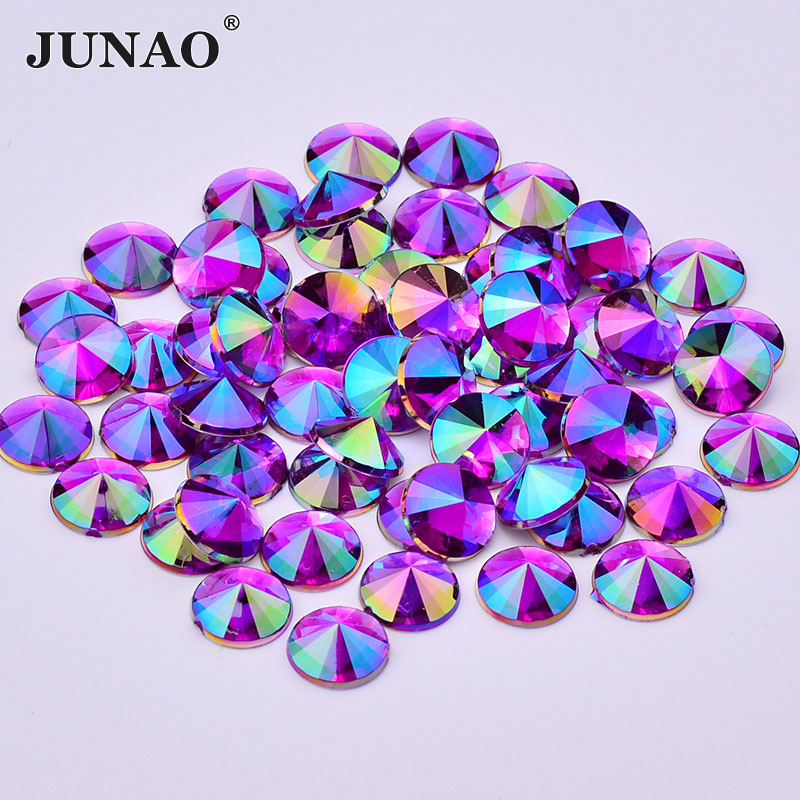 JUNAO 10mm Purple AB Crystals Flat Back Rhinestones Acrylic Crystal Stones Non Hotfix Round Strass Non Sewing Beads for Clothes