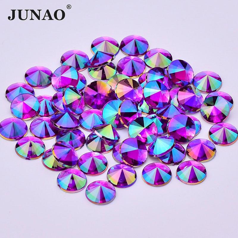 JUNAO 10mm Purple AB krystaly ploché zadní kamínky Akrylové křišťálové kameny Non Hotfix kulatý štrasové nešité korálky pro oblečení