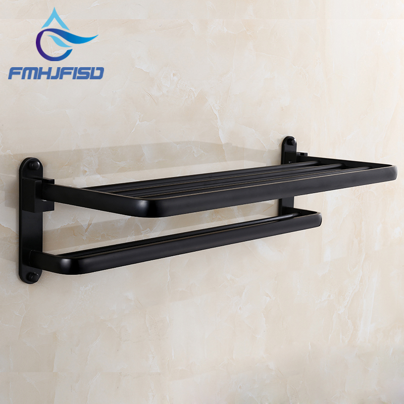NEW Free Shipping Wholesale and retail Promotion  Oil Rubbed Bronze Bathroom Towel Holder Shelf Folding Rack Towel Bar W/ Hooks free shipping wholesale and retail promotion new antique brass bathroom accessories embossed shelf cosmetic dual glass tiers