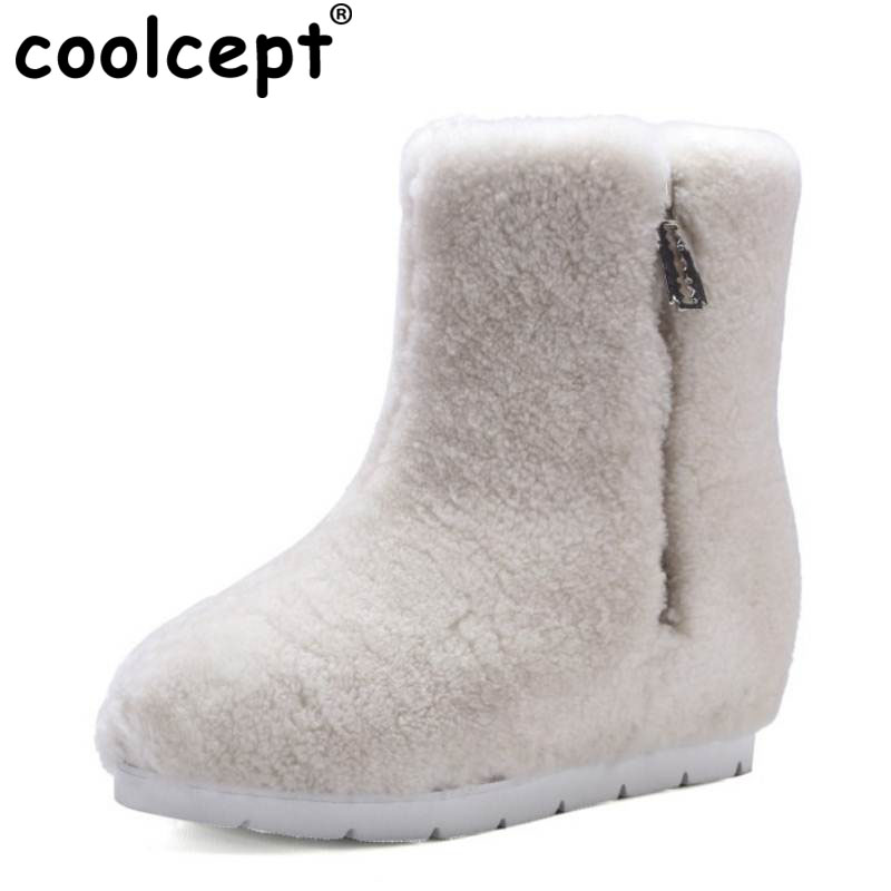 Coolcept Winter Genuine Leather Women Ankle Boots Warm Thickend Sheep Fur Plush Snow Boot Feminina Zipper Women Shoes Size 34-39 2017 cow suede genuine leather female boots all season winter short plush to keep warm ankle boot solid snow boot bota feminina