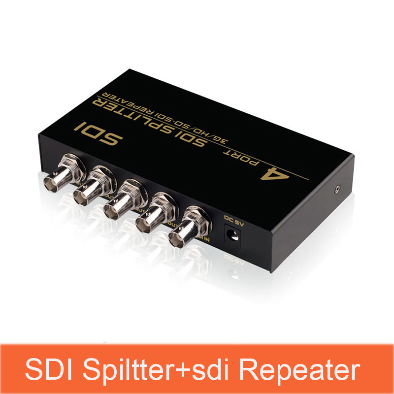 SDI Splitter 1 In 4 Out Multimedia Split SDI Extender Adapter Support 1080P TV Video For Projector Monitor Camera SDI-104