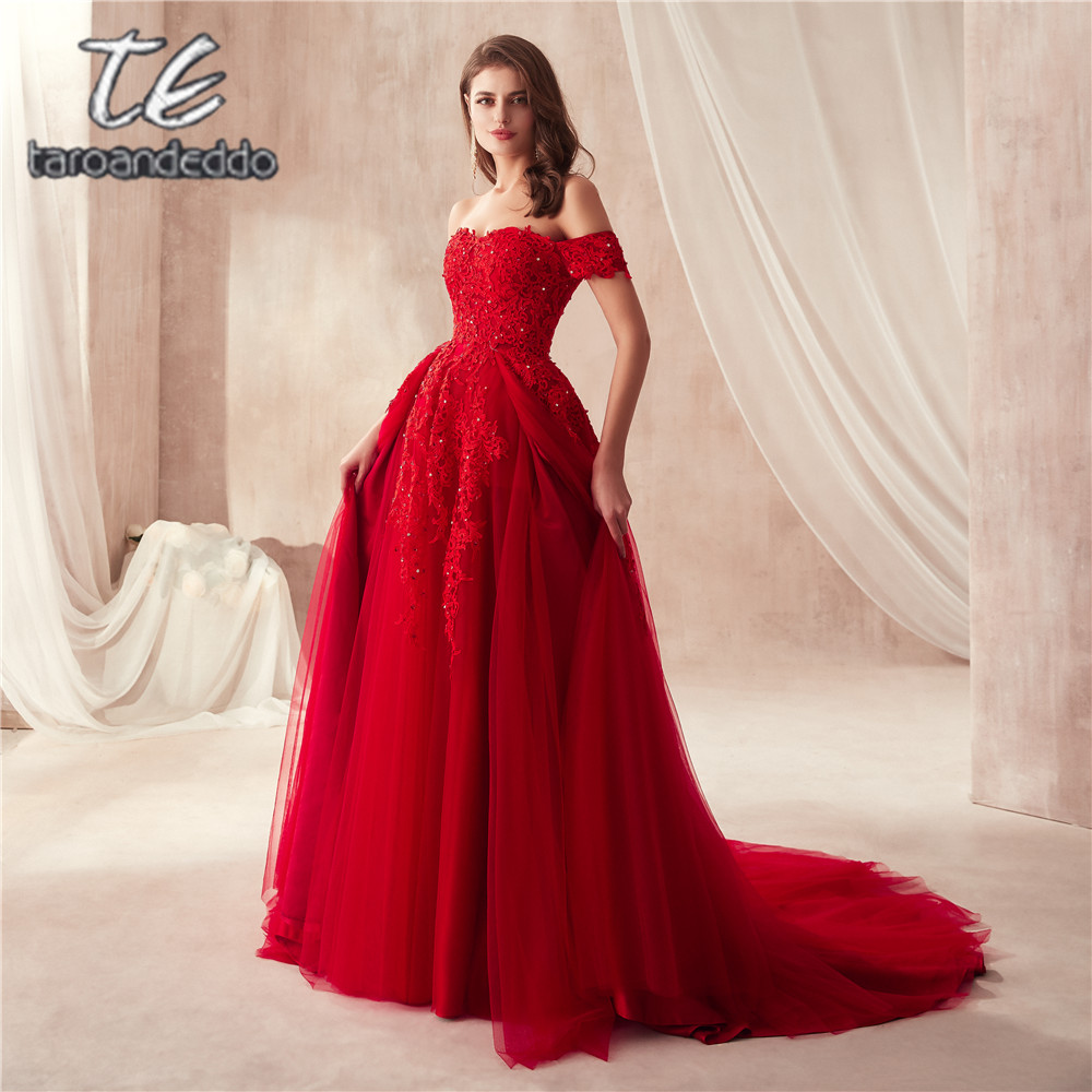 2019 Saudi Arabia Style Off the Shoulder Cut Skirt Design Wine Red Prom Gowns with Crystals